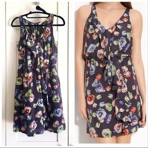 Rebecca Taylor Silk Grey & Pastel Floral Dress